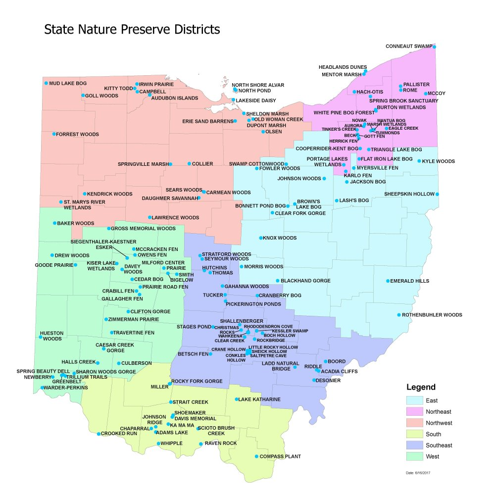 PRESERVE MAP Ohio Natural Areas Preserves Association - Map ohio